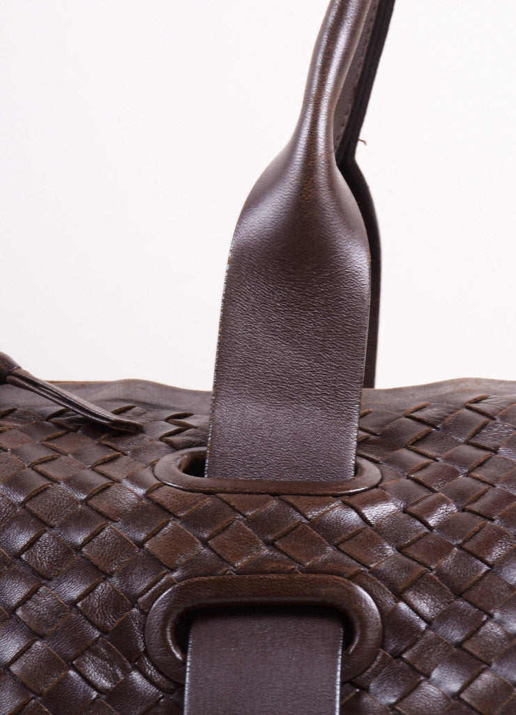 Bottega Veneta Dark Brown Intrecciato Leather Woven Satchel Bag Detail 2