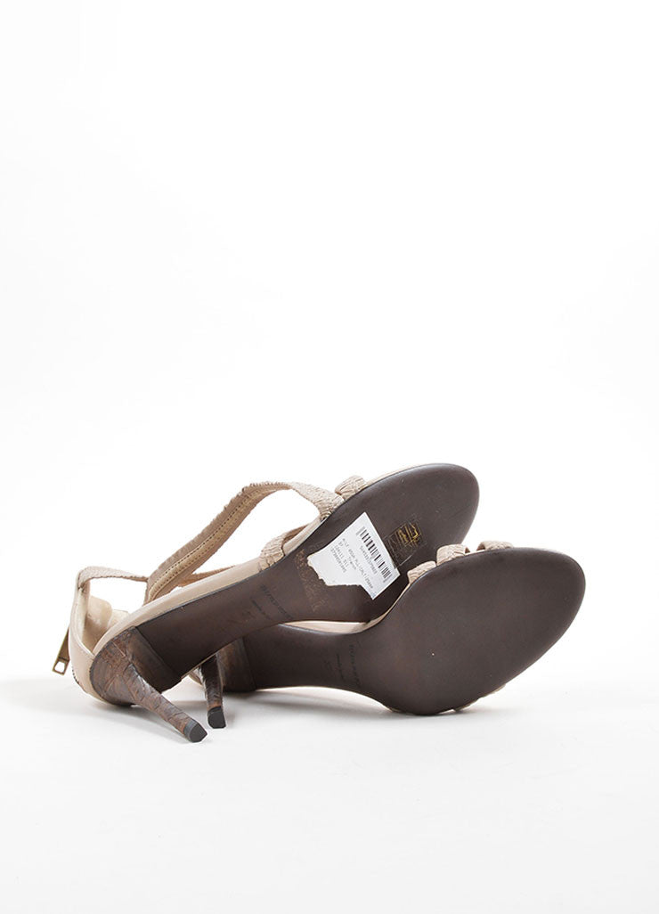 Burberry Beige Leather Plisse Strappy Heeled Sandals Outsoles