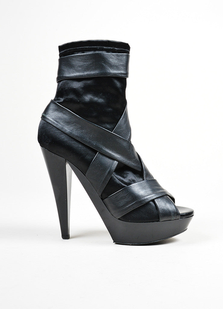 Black Burberry Prorsum Leather and Satin High Heel Peep Toe Ankle Boots Sideview