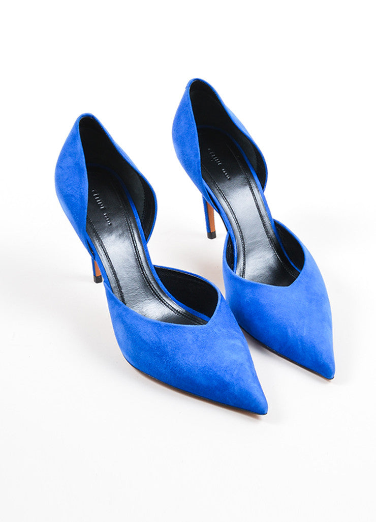 Blue Celine Suede D'Orsay Pointed Toe Pumps Frontview