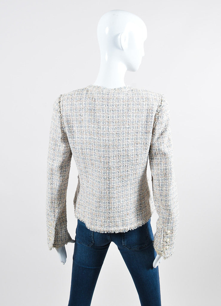 Cream, Pink, and Multicolor Chanel Tweed Fringe Blazer Jacket Backview