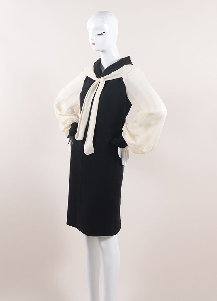 Chanel Black and Cream Cotton and Silk Tie Front Shift Dress Sideview