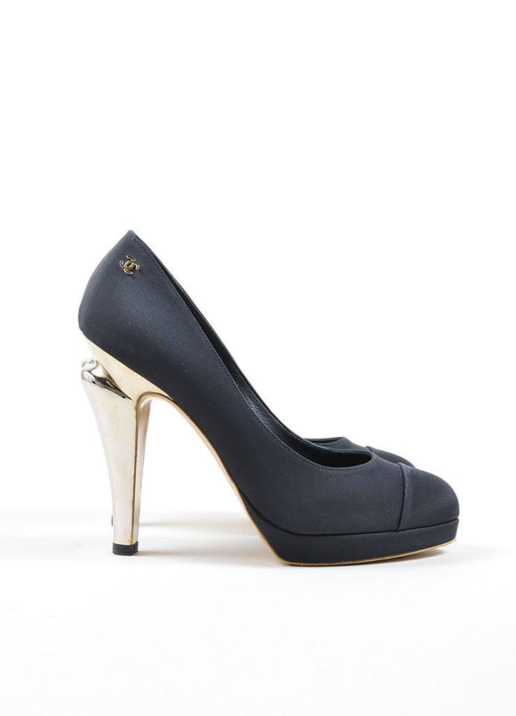 "Chanel Black and Gold Satin ""CC"" Mirrored Platform Pumps Sideview"