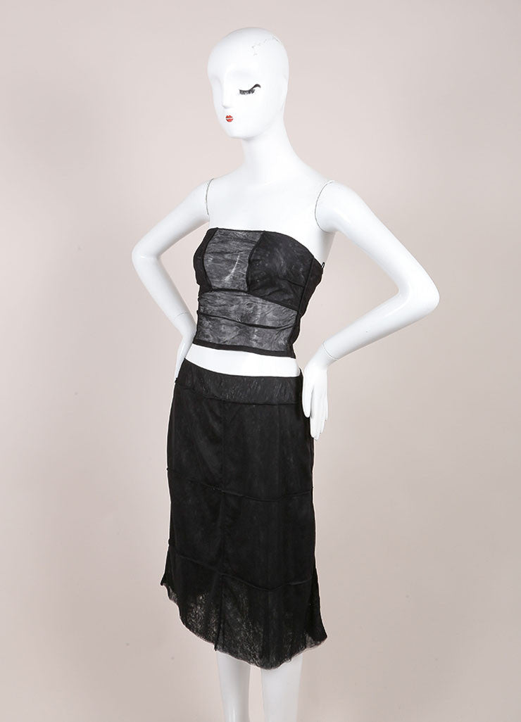 Chanel Black Sheer Mesh Paneled Strapless Crop Top A-Line Skirt Set Sideview
