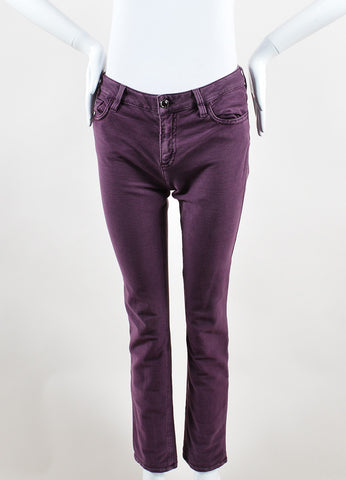 Chanel Mauve Purple Denim Metallic Slim Fit Jeans Frontview