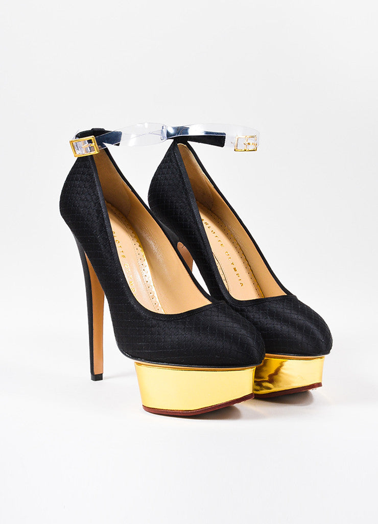 "å´?ÌÜCharlotte Olympia Black and Gold Toned Satin Quilt ""Dolores"" Ankle Strap Pumps Frontview"