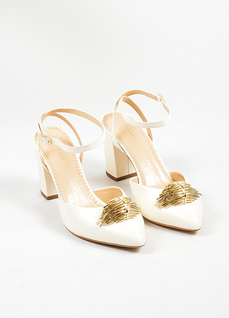 "Off White Leather Charlotte Olympia ""Eileen"" Ankle Wrap Pumps Frontview"