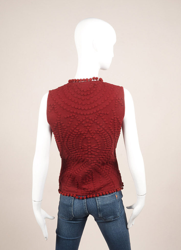 Christian Dior Red Wool Embossed Pom Pom Sleeveless Knit Top Backview