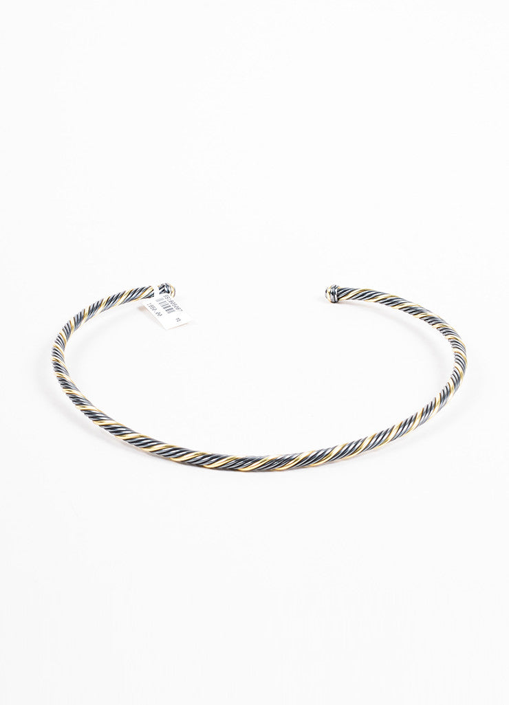 Sterling Silver David Yurman 18K Gold Twisted Cable Choker Necklace Front