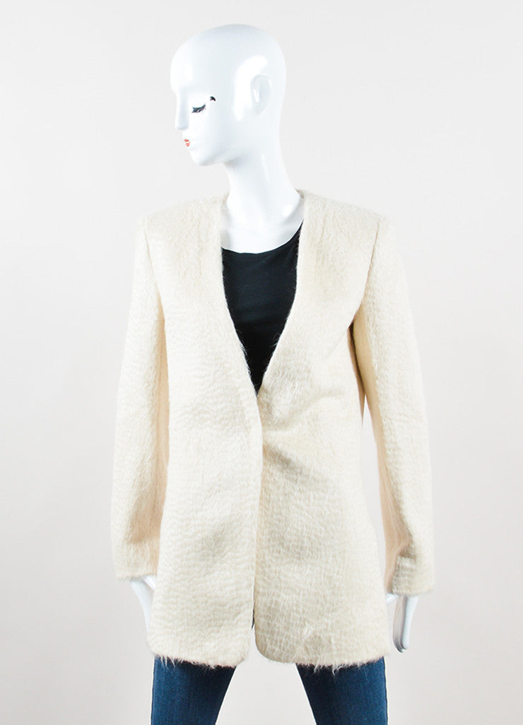 "Edun Cream Soft Alpaca Knit ""Baby Suri"" Side Slit Blazer Frontview 2"