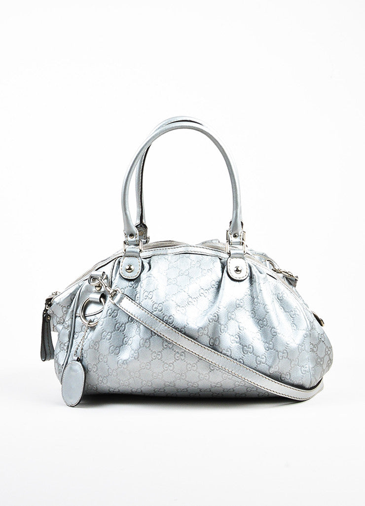 "Gucci Metallic Silver Guccissima Leather Crossbody ""Sukey Boston"" Bag Frontview"