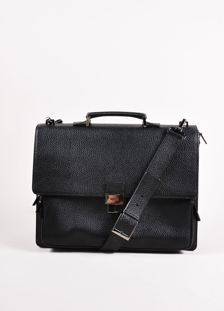 Gucci Black Grain Leather Oversized Messenger Briefcase Frontview