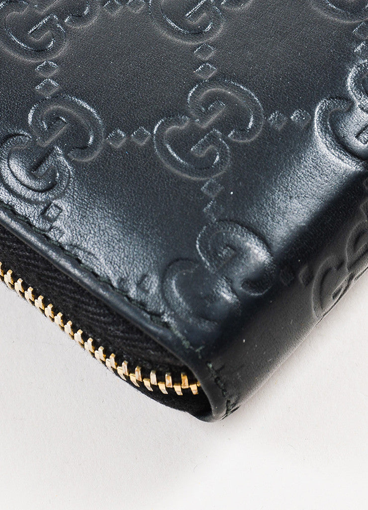 "Gucci Black Leather ""Guccissima"" Monogram ""GG"" Long Zip Wallet Detail"