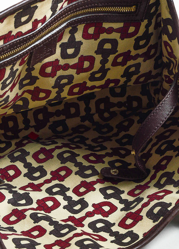"Gucci Brown 'GG' Embossed Guccissima Leather Braided Handle ""Pelham"" Tote Bag interior"
