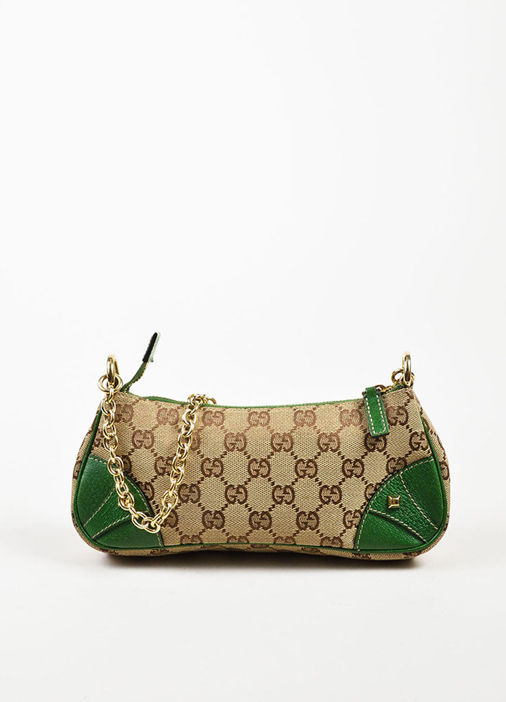 Gucci Brown and Tan Monogrammed Canvas and Green Leather Trimmed Pochette Bag Frontview
