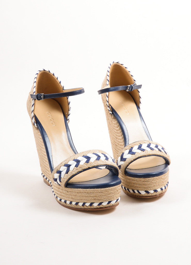 Gucci Blue and White Leather Raffia Espadrille 85mm Wedge Sandals Frontview