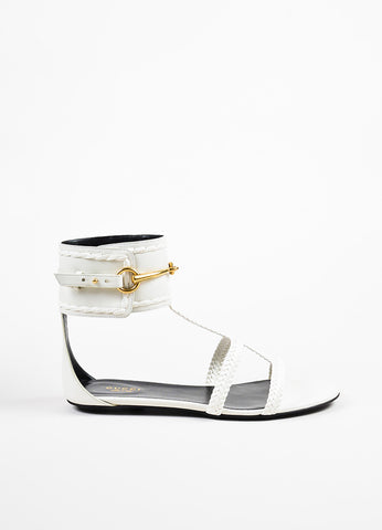 "White Gucci Leather Braided Horsebit ""Ursula"" Gladiator Sandals Side"