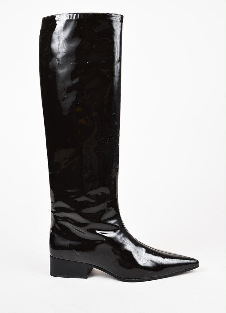 Gucci Dark Brown Patent Leather Pointed Toe Knee High Boots Sideview