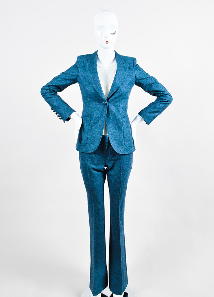 Blue Gucci Speckled Wool Jacket and Trousers Suit Set Front