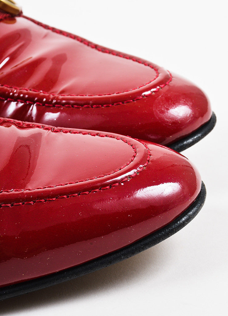 Gucci Red Patent Leather Gold Toned Horsebit Loafers Detail