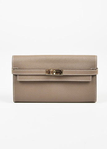 "Hermes Etoupe Taupe Epsom Leather ""Kelly Long"" Wallet Frontview"