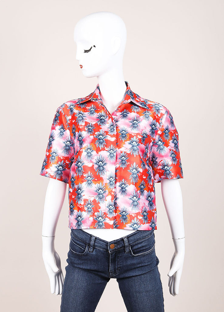 "House of Holland New With Tags Orange and Pink Satin ""Tropical Dove"" Print Short Sleeve Top Frontview"
