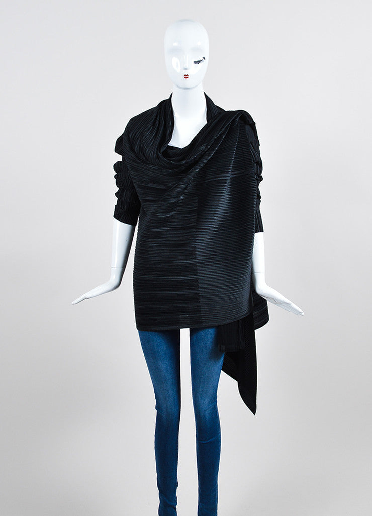 Black Issey Miyake White Label Pleated Open Draped Cardigan Frontview 2