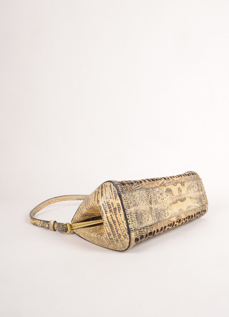 New With Tags Cream and Grey Lizard Leather Laser Cut Frame Shoulder Bag