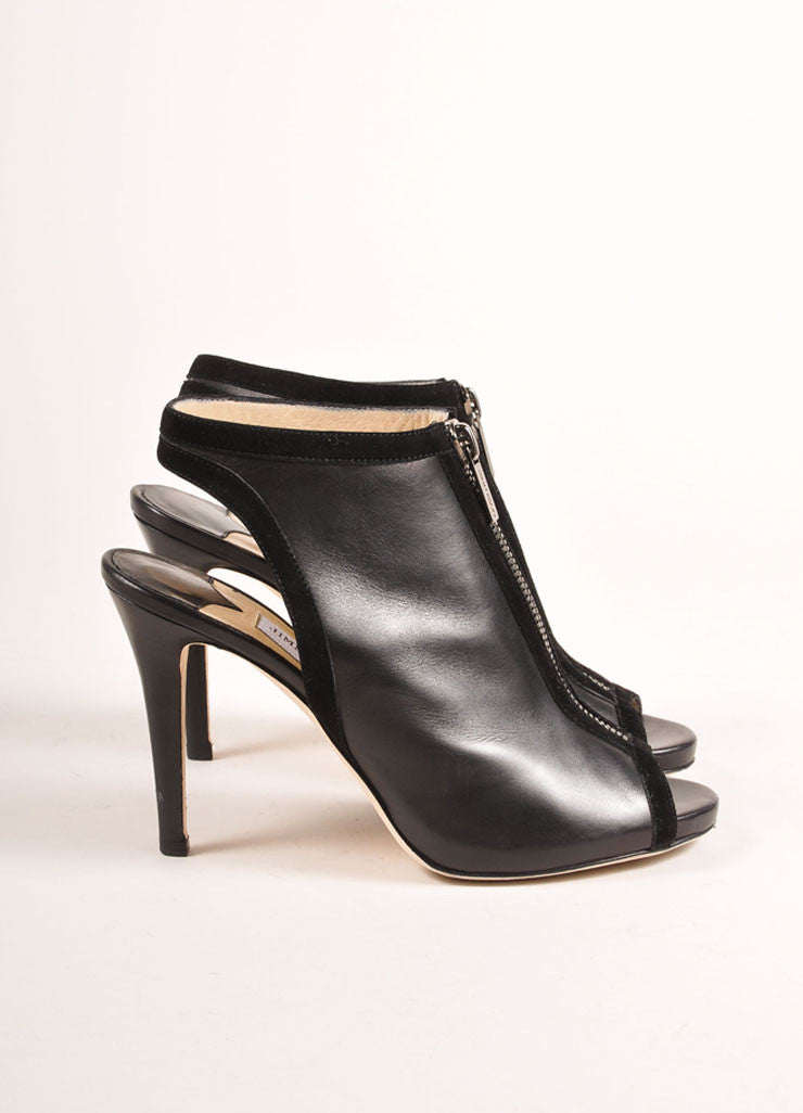 "Jimmy Choo Black Suede Leather Zip ""Mayva"" Booties Sideview"