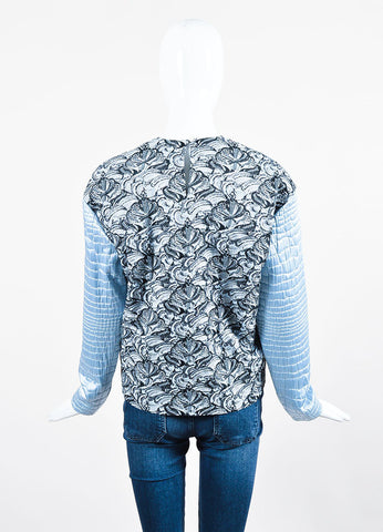 Kenzo Light Blue and Grey Metallic Textured Brocade Sweater Top Backview