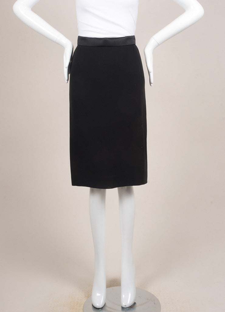Lanvin New With Tags Black Satin and Silk Blend Tux Band Pencil Skirt Frontview