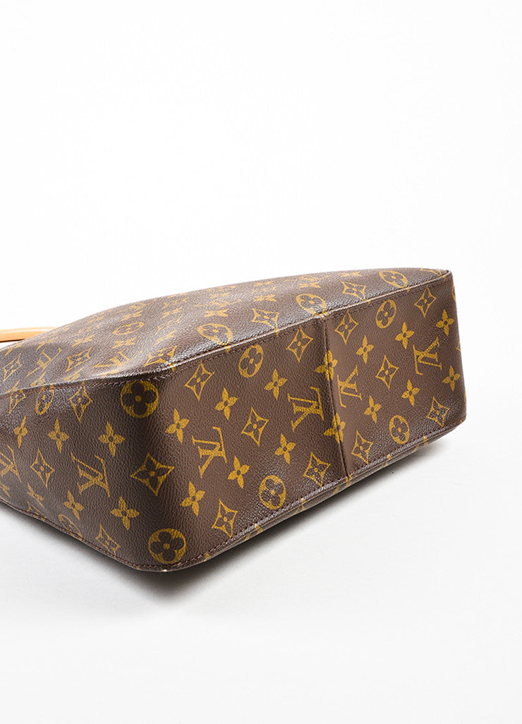 "Brown Louis Vuitton Coated Canvas Monogram ""Looping GM"" Tote Detail"