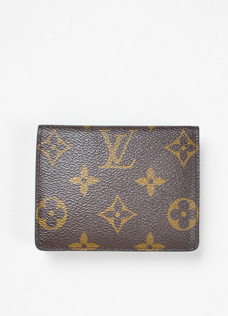 Brown and Tan Louis Vuitton Monogram Coated Canvas Small Snap Card Wallet Backview