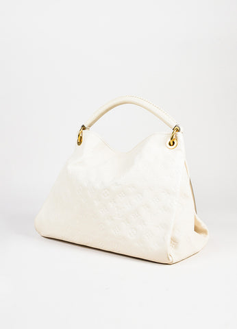 "Louis Vuitton Cream Empreinte Leather Embossed Monogram ""Artsy MM"" Hobo Bag angle"