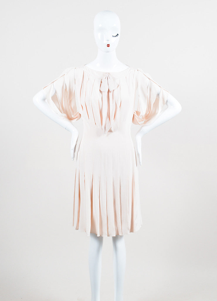 Pale Pink Louis Vuitton Pleated Cut Out Bow Short Sleeve Dress Frontview