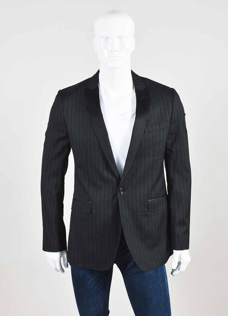 Dolce & Gabbana Black Grey Wool Silk Pinstripe Suit Jacket Front 2