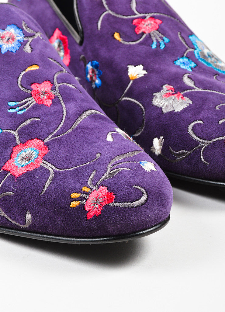 Men's Jimmy Choo Purple Pink Blue Suede Floral Embroidered Loafers Detail