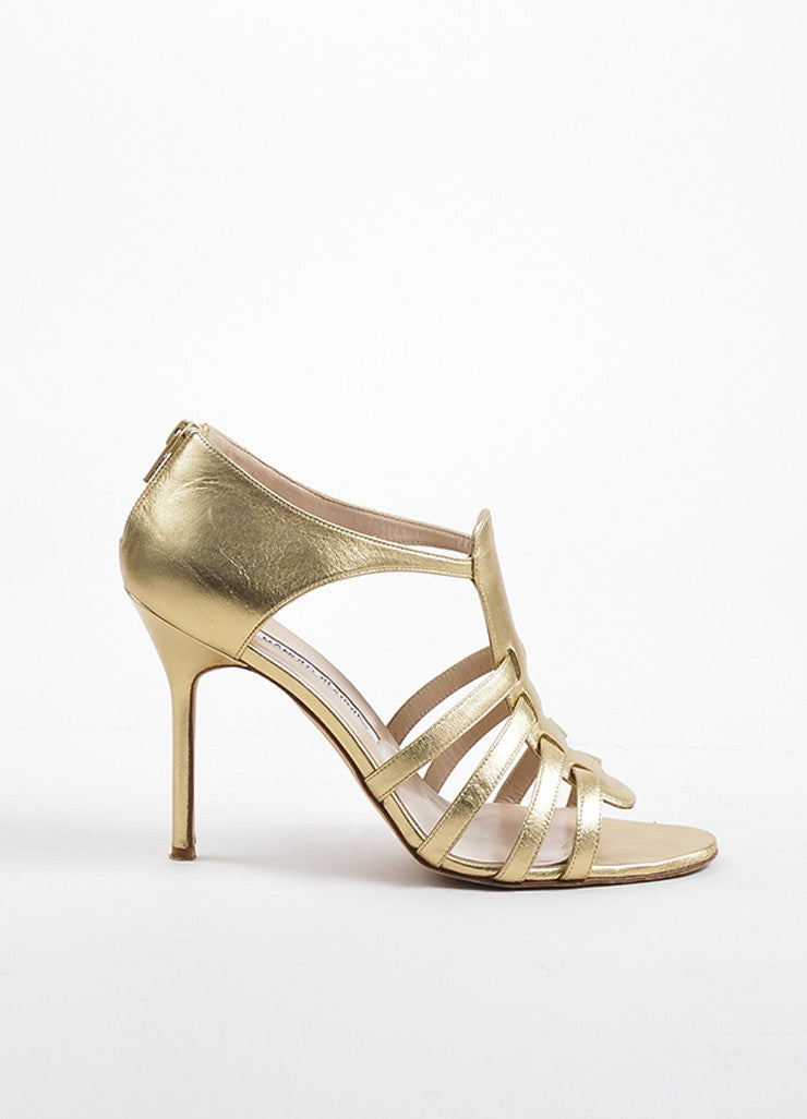 Gold Manolo Blahnik Leather Rakelanzany Heeled Sandals Side