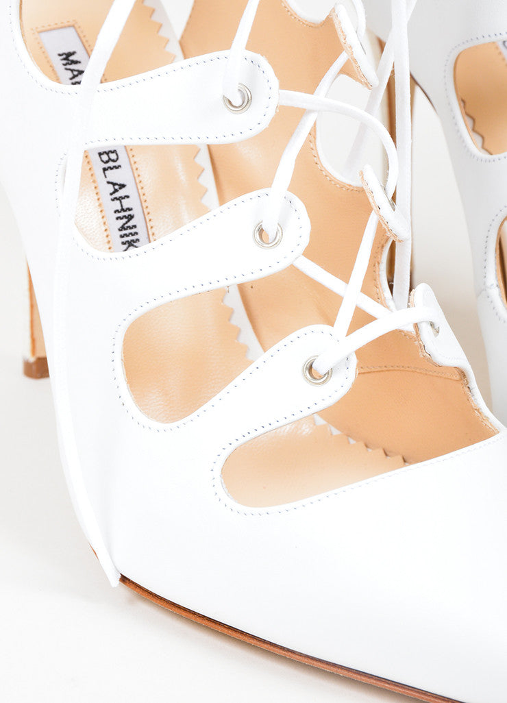 "White Manolo Blahnik Leather Lace Up Pointed Toe ""Latta"" Pumps Detail"