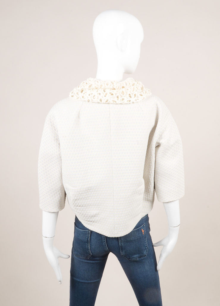 Marc Jacobs Lavender and Ivory Woven Eyelet Collar Cropped Jacket Backview