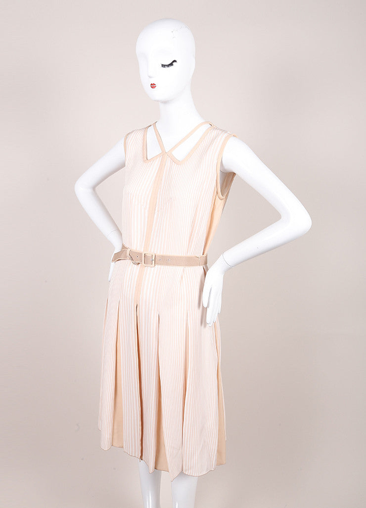 Marc Jacobs New With Tags Beige and Cream Stripe Pleated and Belted Cut Out Dress Sideview