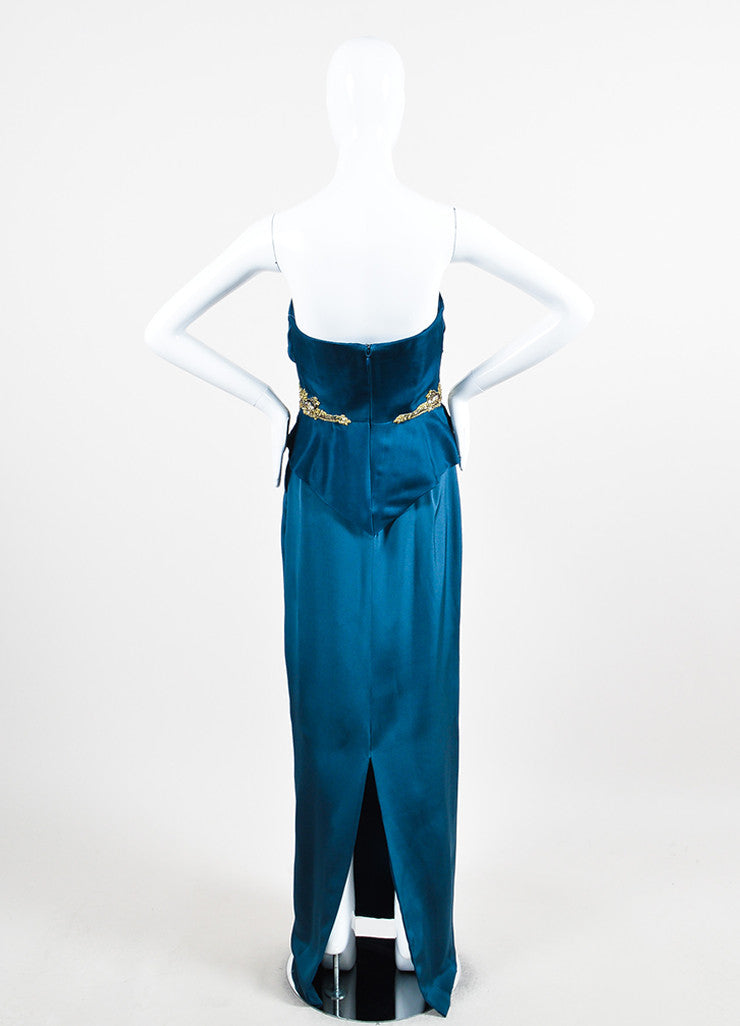 Marchesa Notte Teal Silk Jewel Sequin Embellished Strapless Gown Backview