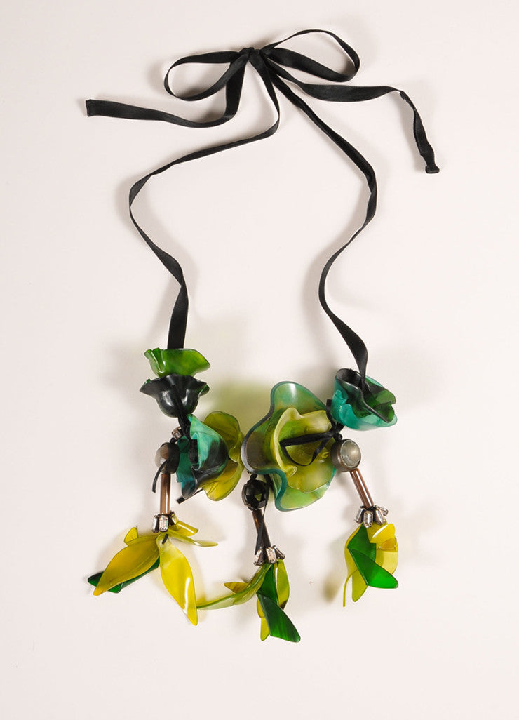Marni Green and Black Resin Flower and Rhinestone Long Ribbon Tie Statement Necklace Frontview