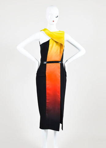 "Black, Orange, and Yellow Mathieu Mirano ""Ombre Flame"" Sleeveless Dress Frontview"