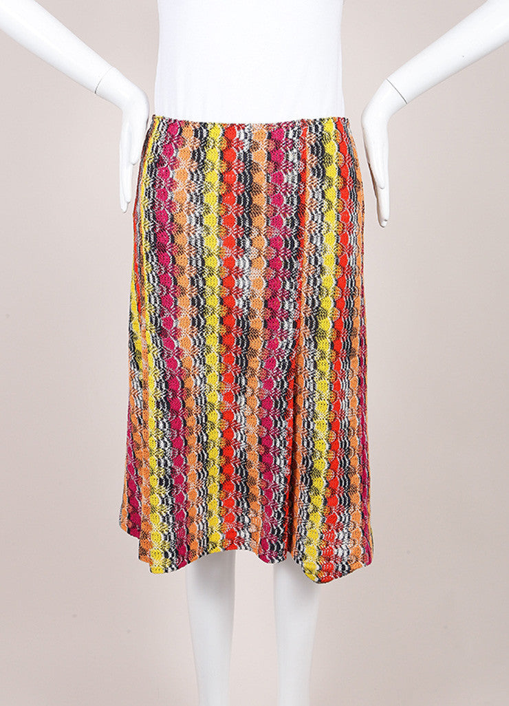 Missoni Multicolor Linen Blend Knit Pleated Skirt Frontview