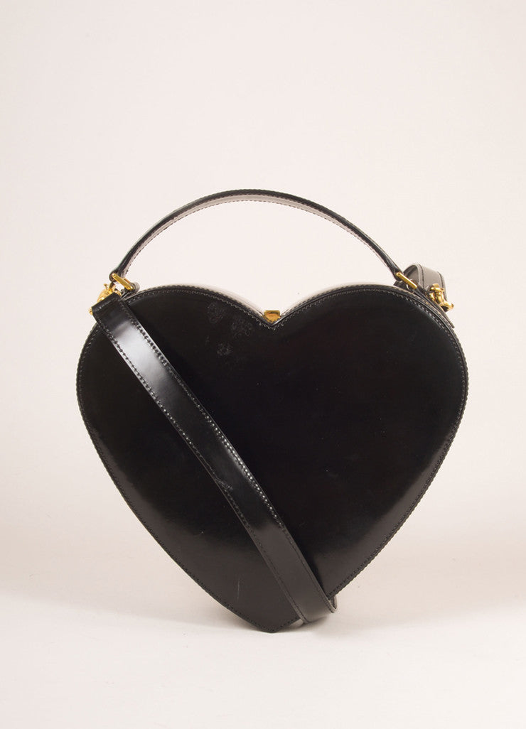 Moschino Black Patent Leather Heart Satchel Shoulder Bag Frontview
