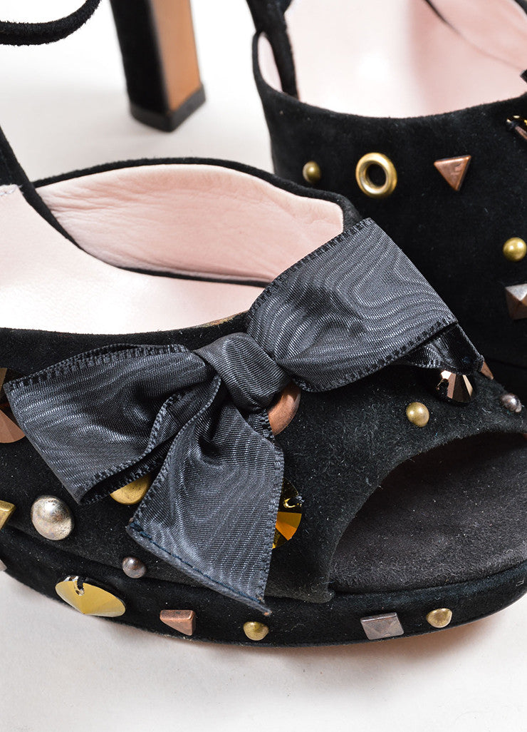 Moschino Black Suede Studded Bow Ankle Strap Sandals Detail