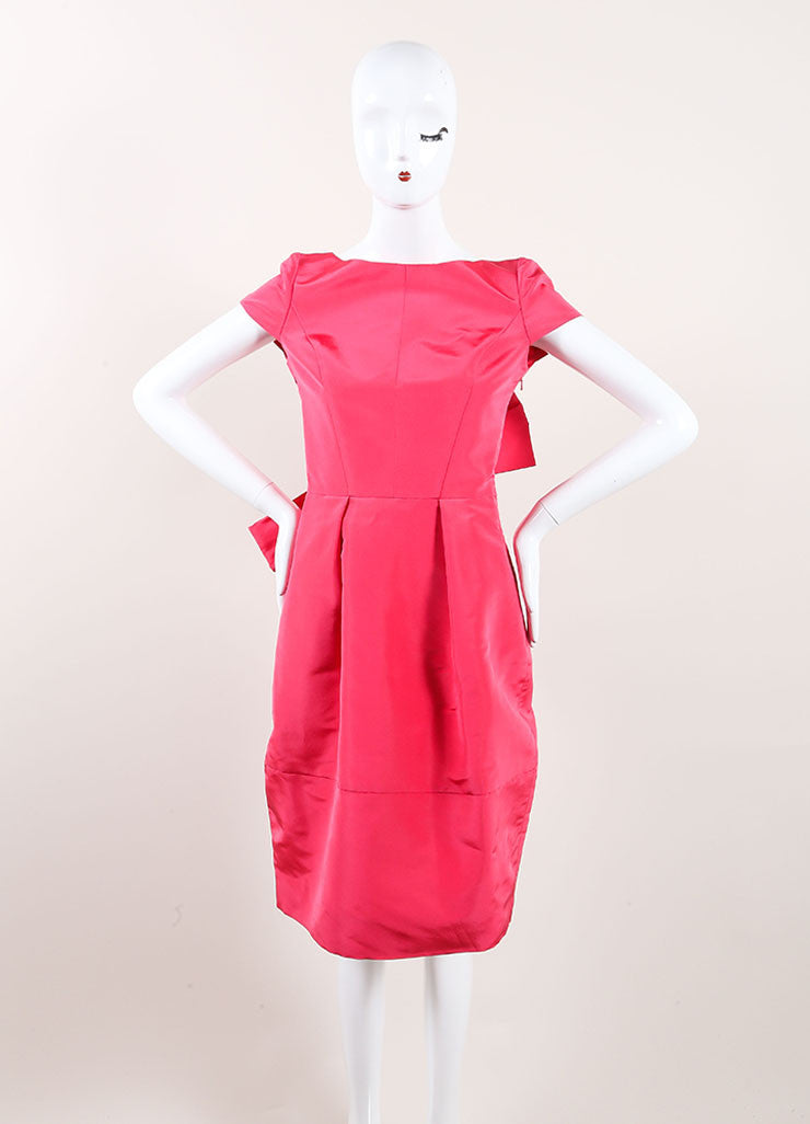 Oscar de la Renta New With Tags Pink Silk Bow Back Cap Sleeve Bell Dress Frontview