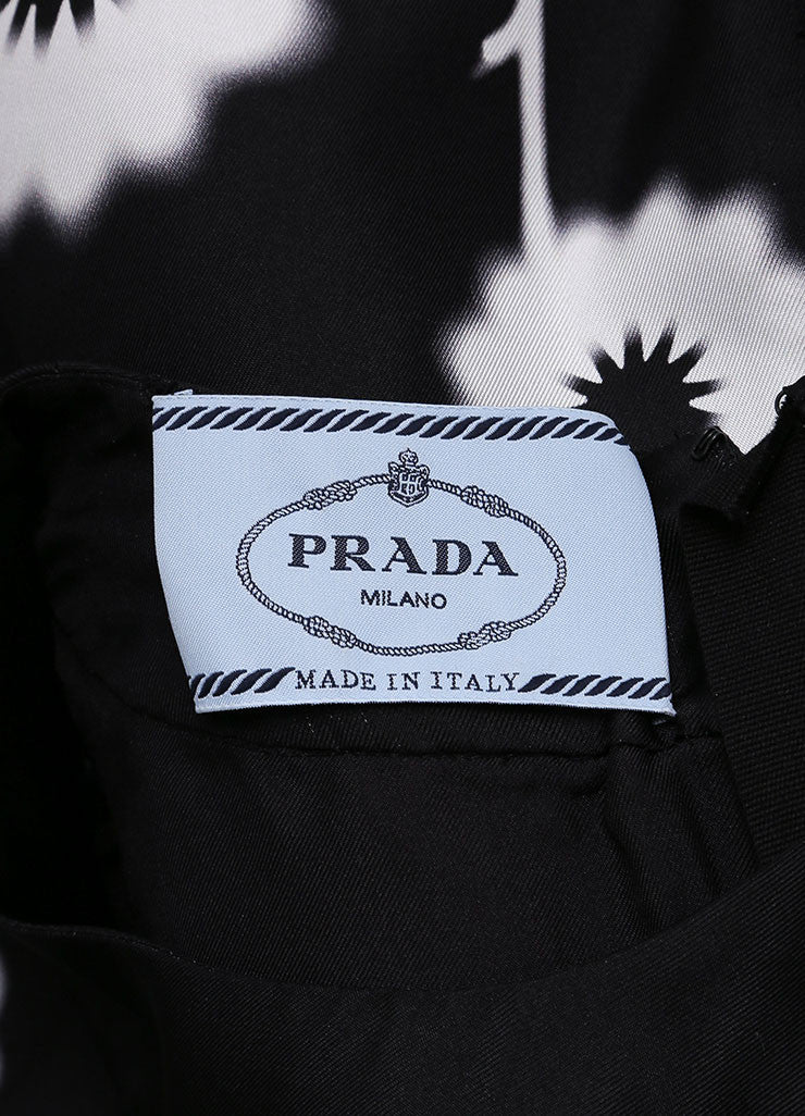 Prada Black and White Silk Spray Paint Flower Print Sleeveless Sheath Dress Brand