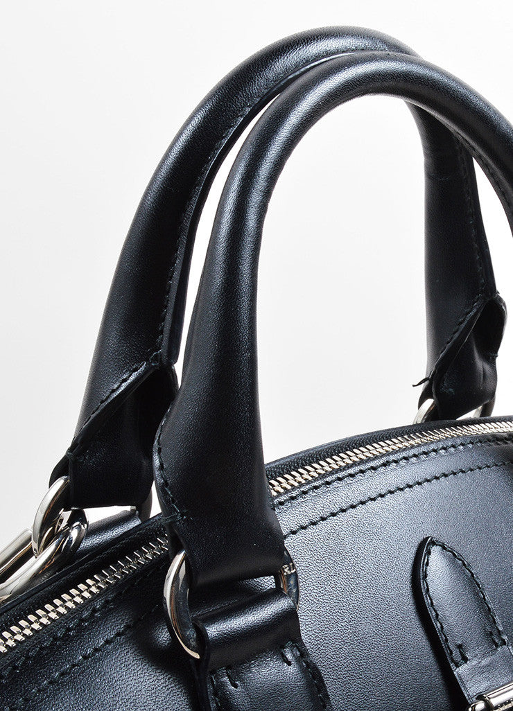 Ralph Lauren Black Leather and Silver Toned Stirrup Hardware Satchel Bag Detail 2